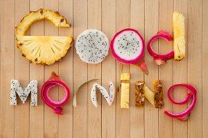 good morning lettering fruits