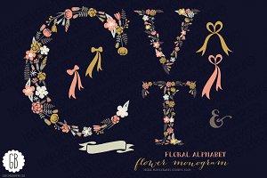 Floral letters, monogram, floral CVT
