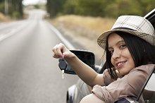 woman with car key