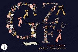 Floral letters, monogram, floral GZF