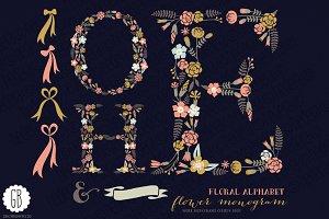 Floral letters, monogram, floral HOE