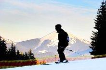 Man skiing, silhouette