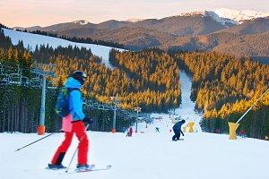 Ski resort at sunset