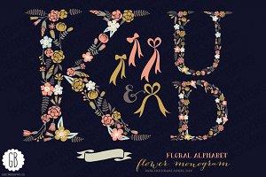 Floral letters, monogram, floral KUD