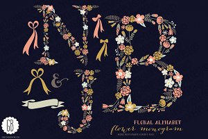 Floral letters, monogram, floral NJB