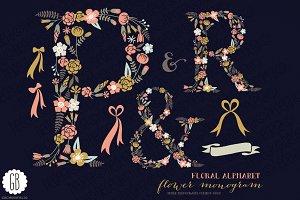 Floral letters, monogram, floral PR&