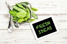 Green salat vegetables ans IPad