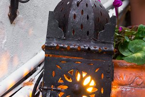 Forging lamp in the garden