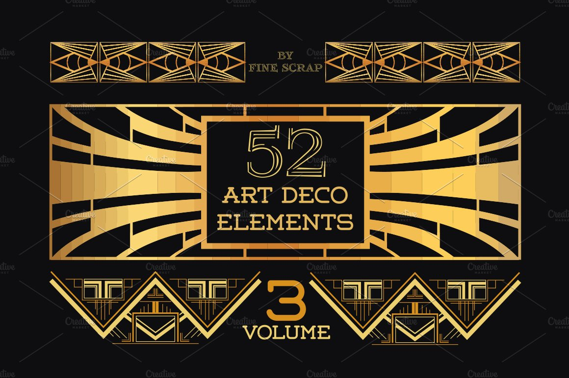 52 art deco design elements vol 3 illustrations creative market. Black Bedroom Furniture Sets. Home Design Ideas