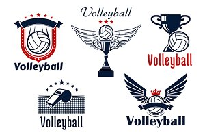 Volleyball sport game symbols