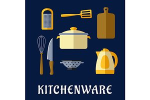 Kitchenware flat icons