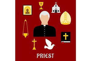Priest profession flat icons