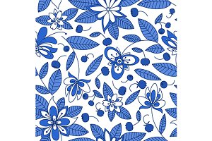 Forest blueberry seamless pattern