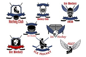 Ice hockey sport game icons