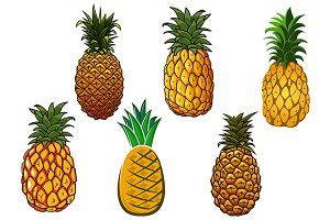 Juicy yellow pineapple fruits