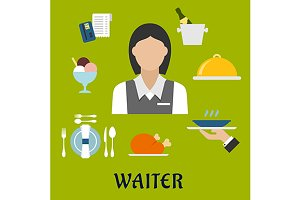 Waitress and restaurant icons