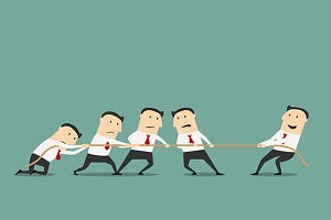 Businessmen tug of war