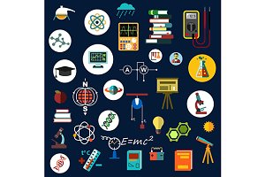 Physics science and technology icons