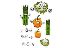 Asparagus, bell peeper, cauliflower