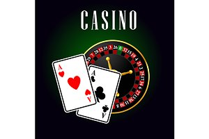 Casino with ace cards and roulette
