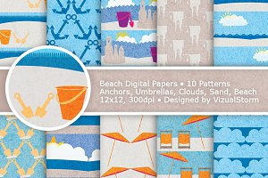 Beach Digital Paper, Sand and Ocean