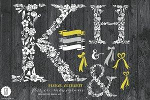 Floral letters, rustic, white KHAmp