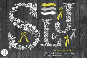 Floral letters, rustic, white SLJ
