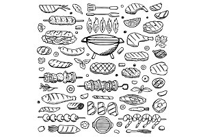Grill Set + 3 Seamless Patterns