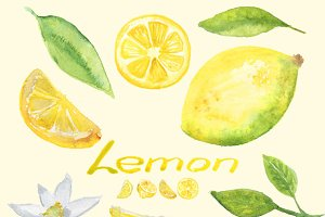 Watercolor Lemon Clip Art