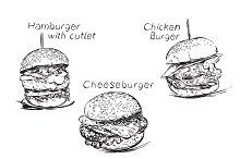 Hand Drawn Burger Set