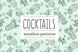 Doodle cocktail patterns and menu