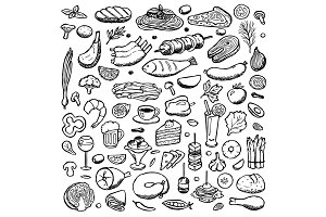 Food Set + Seamless Pattern
