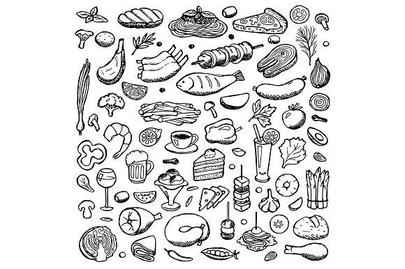 Food Set + Seamless Pattern