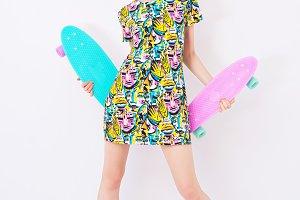 Girl and skate boards