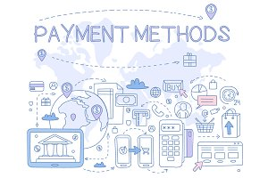 Payment Methods Hand drawn Vector