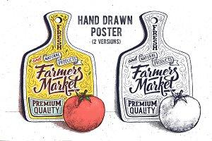 Farmer market. Hand lettering poster