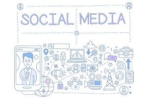 Social Media Hand drawn Vector