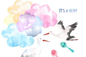 Watercolor Delivery Storks Clip Art