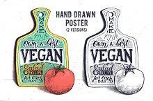 Vegan salad. Hand lettering poster