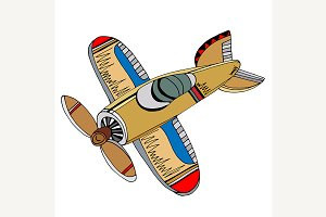 Retro cartoon airplane.