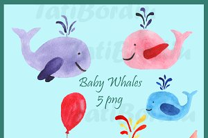Watercolor Baby Whales Clip Art