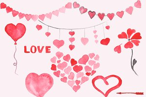 Watercolor Hearts Clip Art