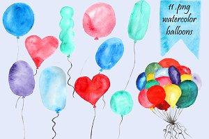 Watercolor Balloons Clip Art