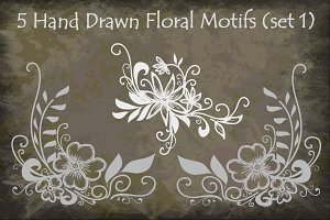 Hand Drawn Floral Motifs (set 1)