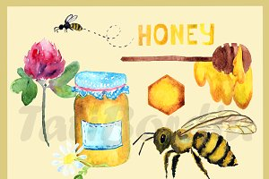 Watercolor Honey Clip Art
