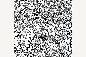 floral doodle vector illustration