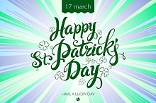 happy patrick day vintage lettering