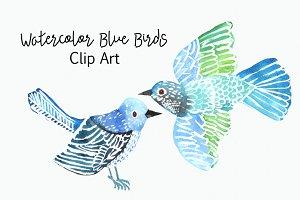 Watercolor Blue Birds