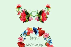 Watercolor Bright Flowers Clip Art