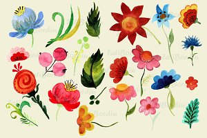 Watercolor Bright Flowers Clip Art